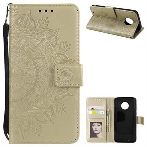 Intricate Embossing Datura Leather Wallet Case for Motorola Moto G6 - Golden