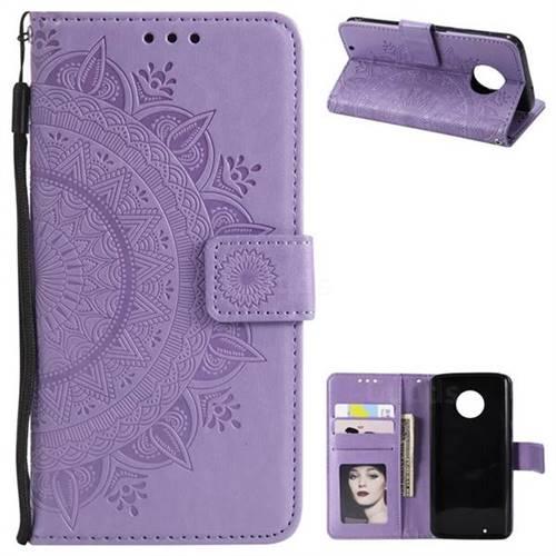 Intricate Embossing Datura Leather Wallet Case for Motorola Moto G6 - Purple