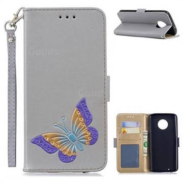 Imprint Embossing Butterfly Leather Wallet Case for Motorola Moto G6 - Grey