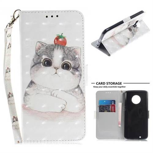 Cute Tomato Cat 3D Painted Leather Wallet Phone Case for Motorola Moto G6