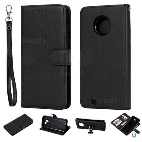 Retro Greek Detachable Magnetic PU Leather Wallet Phone Case for Motorola Moto G6 - Black