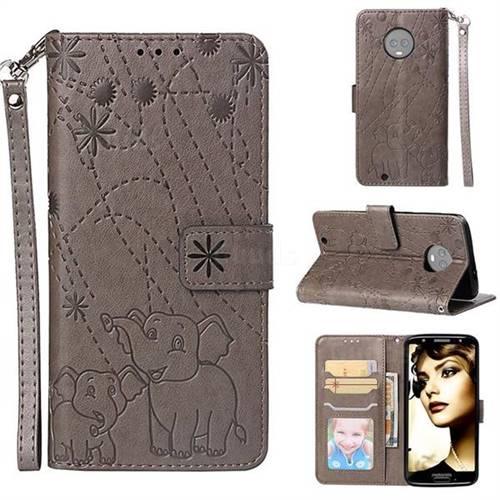 Embossing Fireworks Elephant Leather Wallet Case for Motorola Moto G6 - Gray