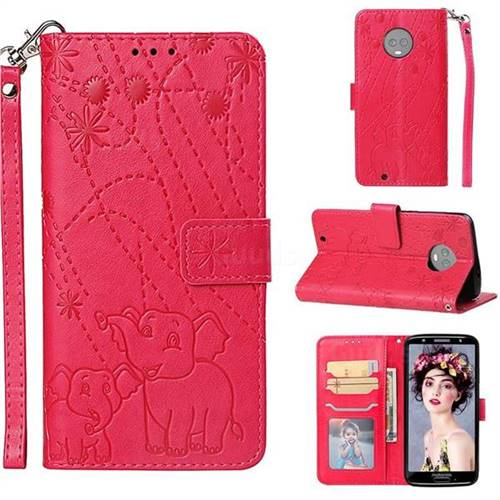 Embossing Fireworks Elephant Leather Wallet Case for Motorola Moto G6 - Red