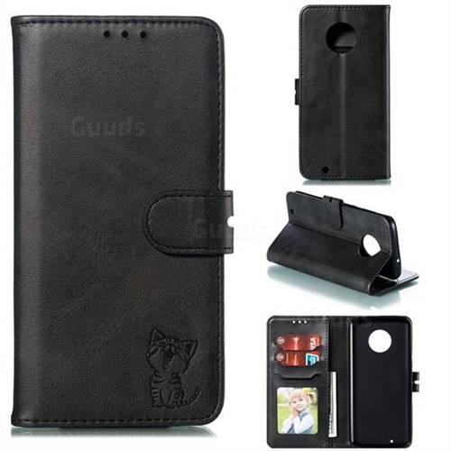 Embossing Happy Cat Leather Wallet Case for Motorola Moto G6 - Black