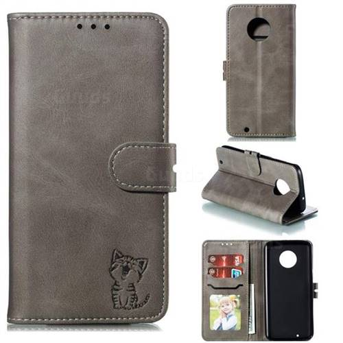 Embossing Happy Cat Leather Wallet Case for Motorola Moto G6 - Gray