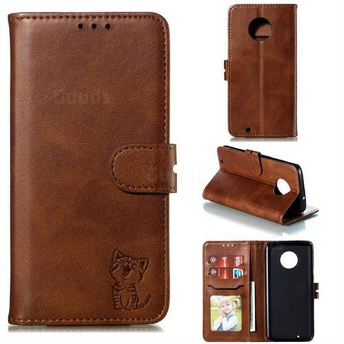 Embossing Happy Cat Leather Wallet Case for Motorola Moto G6 - Brown