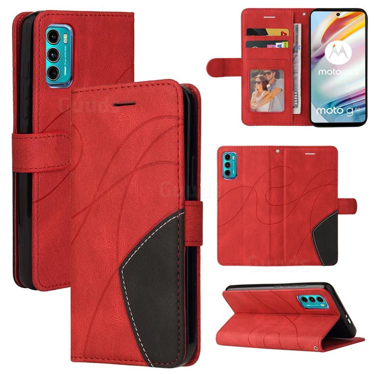 Luxury Two-color Stitching Leather Wallet Case Cover for Motorola Moto G60 - Red
