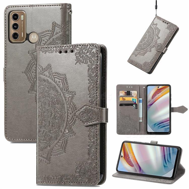 Embossing Imprint Mandala Flower Leather Wallet Case for Motorola Moto G60 - Gray