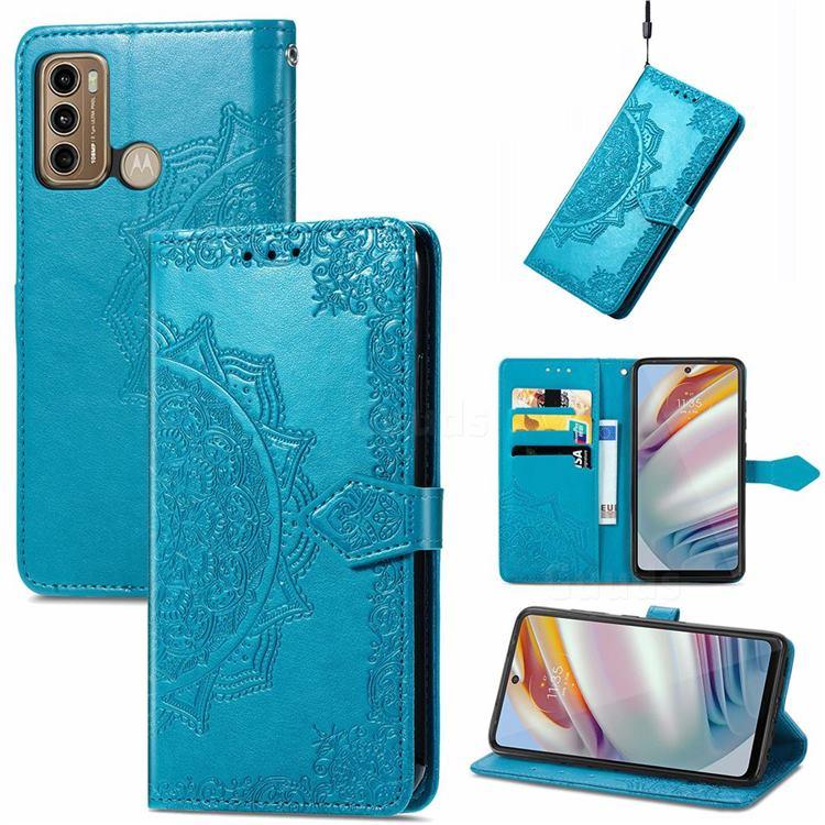 Embossing Imprint Mandala Flower Leather Wallet Case for Motorola Moto G60 - Blue