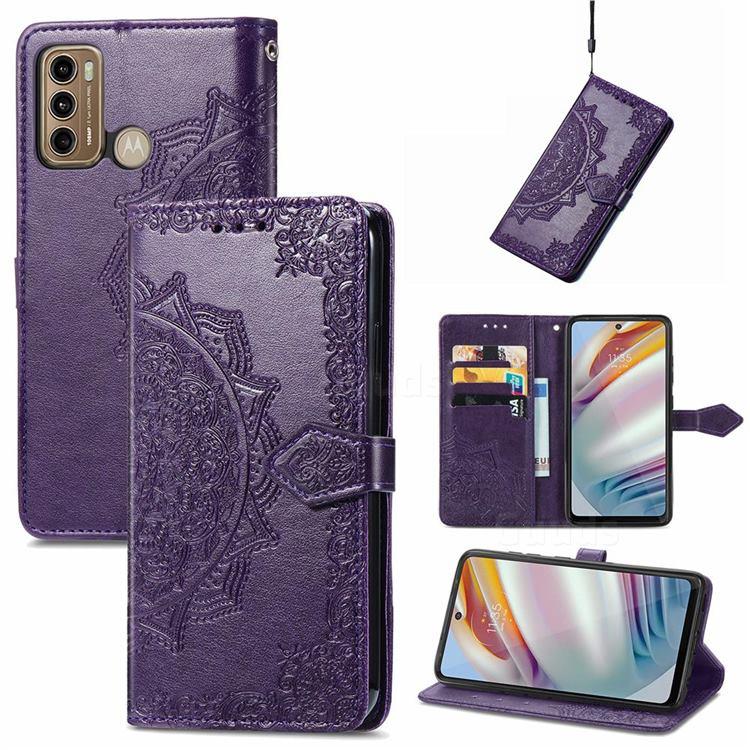 Embossing Imprint Mandala Flower Leather Wallet Case for Motorola Moto G60 - Purple