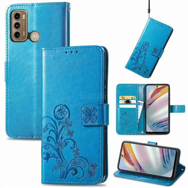 Embossing Imprint Four-Leaf Clover Leather Wallet Case for Motorola Moto G60 - Blue
