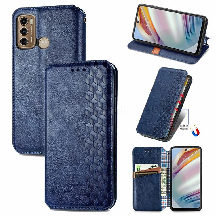 Ultra Slim Fashion Business Card Magnetic Automatic Suction Leather Flip Cover for Motorola Moto G60 - Dark Blue