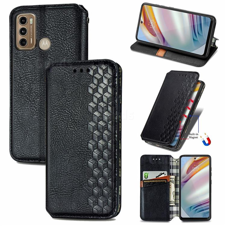 Ultra Slim Fashion Business Card Magnetic Automatic Suction Leather Flip Cover for Motorola Moto G60 - Black