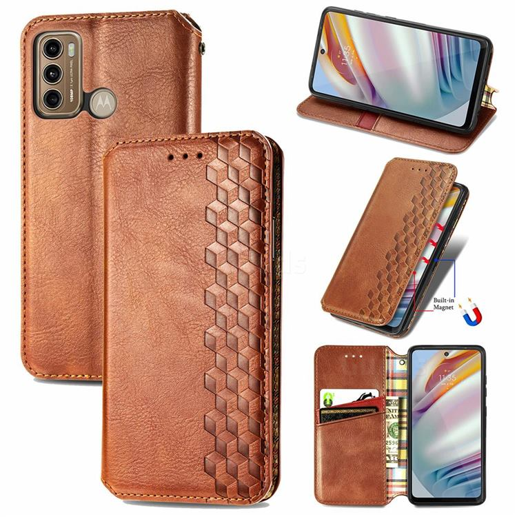 Ultra Slim Fashion Business Card Magnetic Automatic Suction Leather Flip Cover for Motorola Moto G60 - Brown