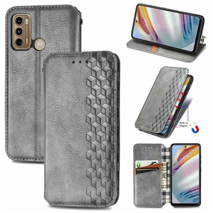 Ultra Slim Fashion Business Card Magnetic Automatic Suction Leather Flip Cover for Motorola Moto G60 - Grey