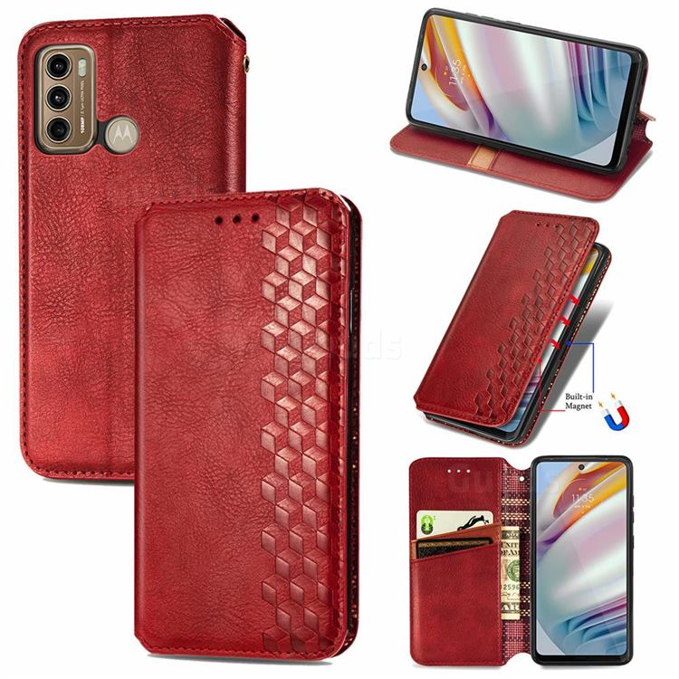 Ultra Slim Fashion Business Card Magnetic Automatic Suction Leather Flip Cover for Motorola Moto G60 - Red