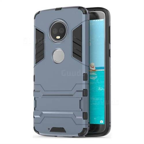 Armor Premium Tactical Grip Kickstand Shockproof Dual Layer Rugged Hard Cover for Motorola Moto G6 Plus G6Plus - Navy
