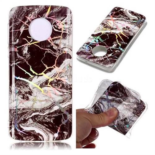 White Black Marble Pattern Bright Color Laser Soft TPU Case for Motorola Moto G6 Plus G6Plus