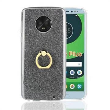 Luxury Soft TPU Glitter Back Ring Cover with 360 Rotate Finger Holder Buckle for Motorola Moto G6 Plus G6Plus - Black