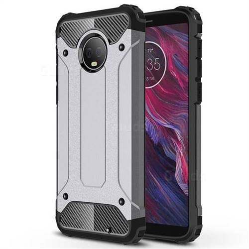 King Kong Armor Premium Shockproof Dual Layer Rugged Hard Cover for Motorola Moto G6 Plus G6Plus - Silver Grey