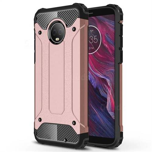 King Kong Armor Premium Shockproof Dual Layer Rugged Hard Cover for Motorola Moto G6 Plus G6Plus - Rose Gold