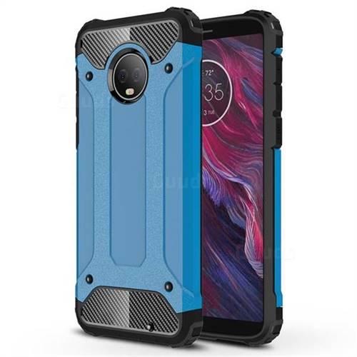 King Kong Armor Premium Shockproof Dual Layer Rugged Hard Cover for Motorola Moto G6 Plus G6Plus - Sky Blue