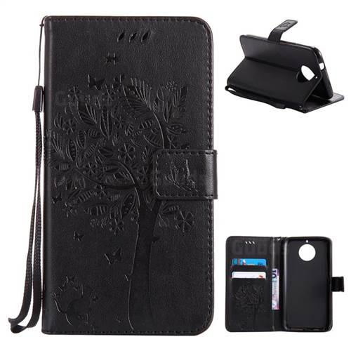 Embossing Butterfly Tree Leather Wallet Case for Motorola Moto G6 Plus G6Plus - Black
