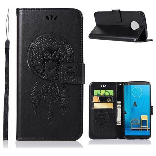 Intricate Embossing Owl Campanula Leather Wallet Case for Motorola Moto G6 Plus G6Plus - Black
