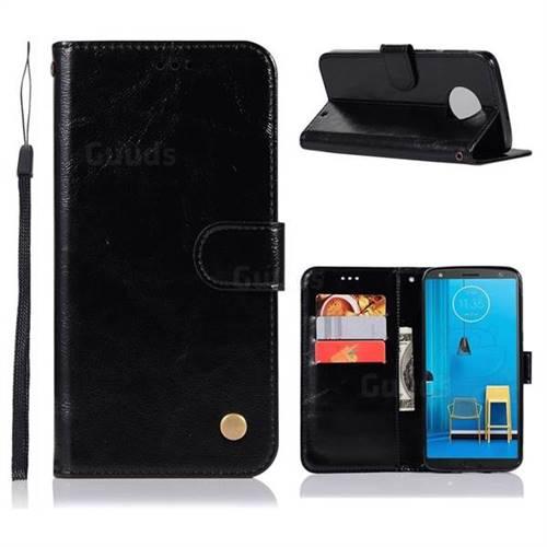 Luxury Retro Leather Wallet Case for Motorola Moto G6 Plus G6Plus - Black