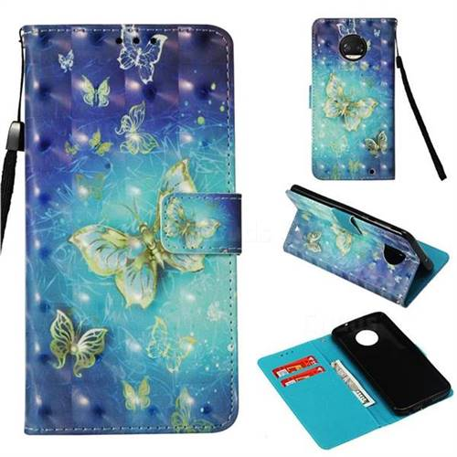 Gold Butterfly 3D Painted Leather Wallet Case for Motorola Moto G6 Plus G6Plus