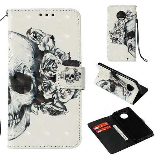 Skull Flower 3D Painted Leather Wallet Case for Motorola Moto G6 Plus G6Plus