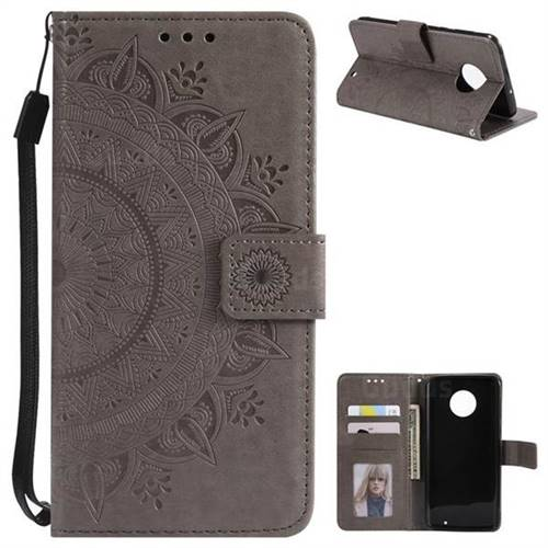 Intricate Embossing Datura Leather Wallet Case for Motorola Moto G6 Plus G6Plus - Gray