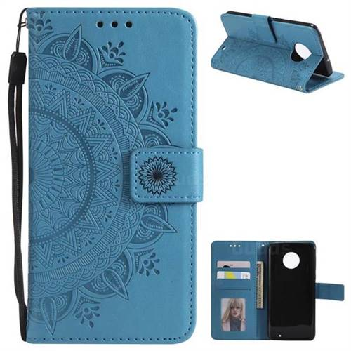 Intricate Embossing Datura Leather Wallet Case for Motorola Moto G6 Plus G6Plus - Blue