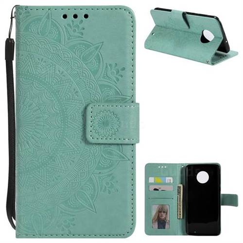 Intricate Embossing Datura Leather Wallet Case for Motorola Moto G6 Plus G6Plus - Mint Green