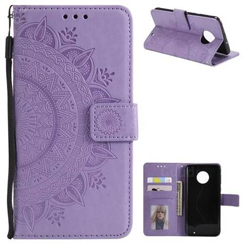 Intricate Embossing Datura Leather Wallet Case for Motorola Moto G6 Plus G6Plus - Purple