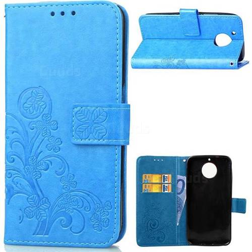 Embossing Imprint Four-Leaf Clover Leather Wallet Case for Motorola Moto G6 Plus G6Plus - Blue