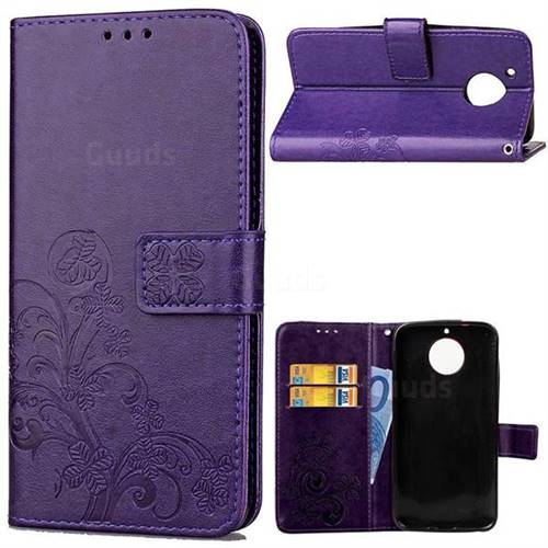 Embossing Imprint Four-Leaf Clover Leather Wallet Case for Motorola Moto G6 Plus G6Plus - Purple