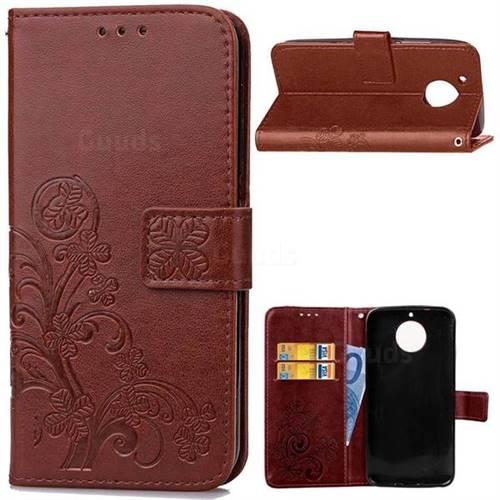 Embossing Imprint Four-Leaf Clover Leather Wallet Case for Motorola Moto G6 Plus G6Plus - Brown