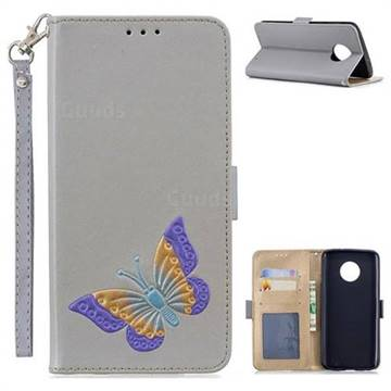 Imprint Embossing Butterfly Leather Wallet Case for Motorola Moto G6 Plus G6Plus - Grey