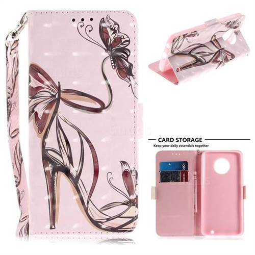 Butterfly High Heels 3D Painted Leather Wallet Phone Case for Motorola Moto G6 Plus G6Plus