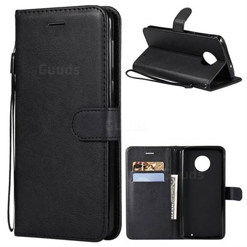 Retro Greek Classic Smooth PU Leather Wallet Phone Case for Motorola Moto G6 Plus G6Plus - Black