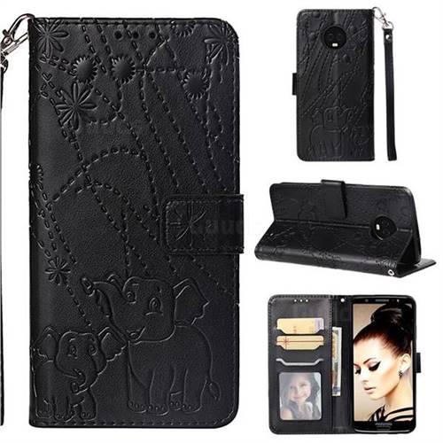 Embossing Fireworks Elephant Leather Wallet Case for Motorola Moto G6 Plus G6Plus - Black
