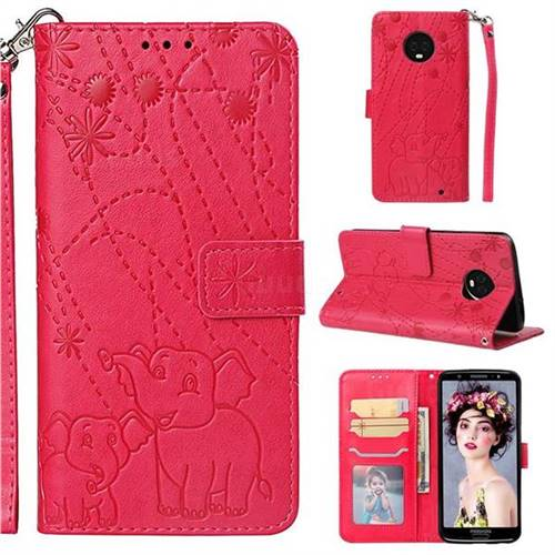 Embossing Fireworks Elephant Leather Wallet Case for Motorola Moto G6 Plus G6Plus - Red