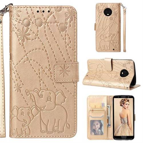 Embossing Fireworks Elephant Leather Wallet Case for Motorola Moto G6 Plus G6Plus - Golden