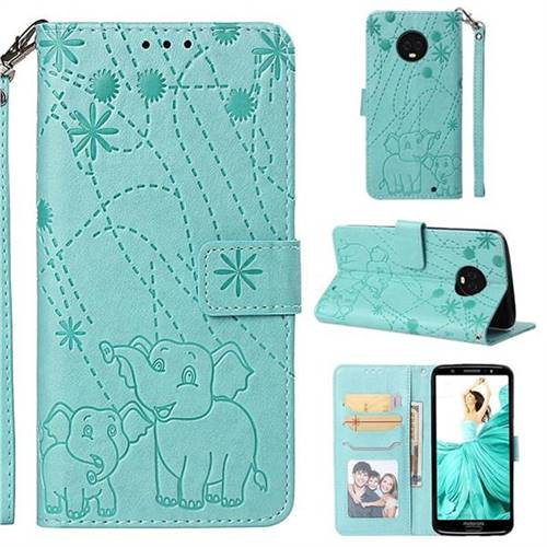 Embossing Fireworks Elephant Leather Wallet Case for Motorola Moto G6 Plus G6Plus - Green