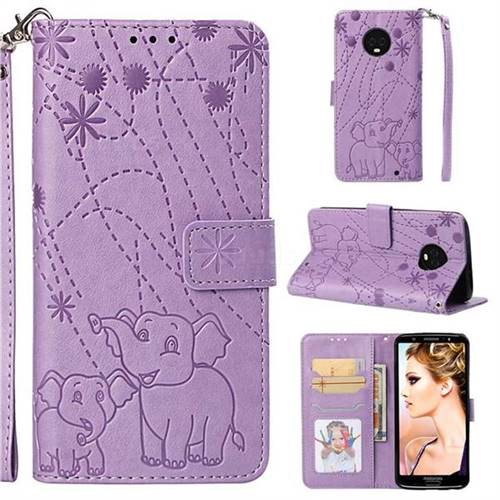 Embossing Fireworks Elephant Leather Wallet Case for Motorola Moto G6 Plus G6Plus - Purple