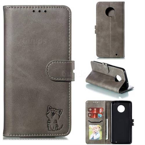 Embossing Happy Cat Leather Wallet Case for Motorola Moto G6 Plus G6Plus - Gray