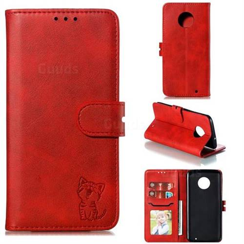 Embossing Happy Cat Leather Wallet Case for Motorola Moto G6 Plus G6Plus - Red