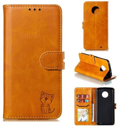 Embossing Happy Cat Leather Wallet Case for Motorola Moto G6 Plus G6Plus - Yellow