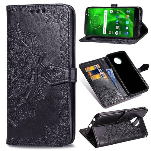 Embossing Imprint Mandala Flower Leather Wallet Case for Motorola Moto G6 Plus G6Plus - Black
